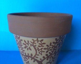 Brown Tree Hand Painted Terra Cotta Pot