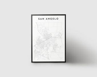 San Angelo Map Print