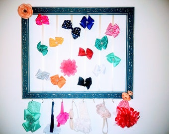 Teal and Gold Hairbow and headband organizer