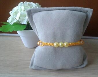 Yellow Shamballa bracelet with pearls