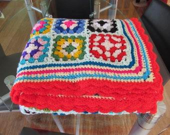 Colourful Vibrant Crochet Granny Square Afghan Blanket Throw