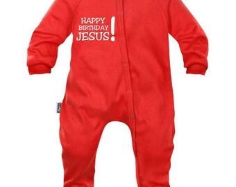 Baby Christmas Pajamas: Happy Birthday Jesus!