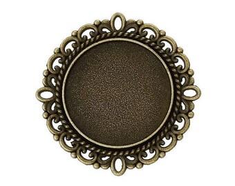 medium round cabochon bronze 3.1x3.1 cm