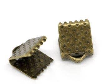 6mm - Pack 50 caps claw/cap for 6 mm Ribbon / clip crimp bronze