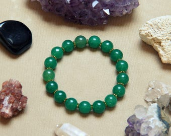 Medium Green Jade Gemstone Barcelet