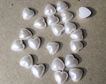 10 CABOCHONS rhinestones heart PEARLY white 8 mm (M89)