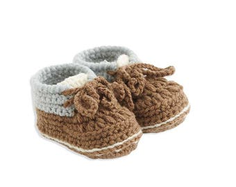 Gray and Brown Hand Crocheted Work Boots