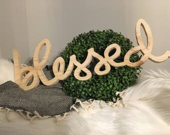 Blessed free standing wood sign