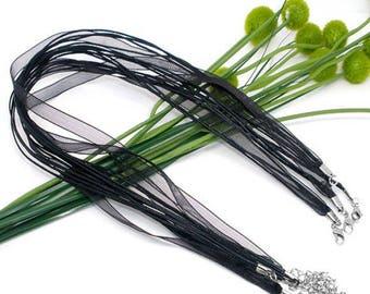 Set of 3 necklaces Organza Ribbon and black cord 43 cms
