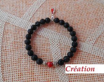 Bracelet beads lava lobster clasp
