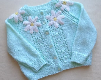 Knitted sweater for girl 3-4 year Warm coat Birthday gift Openwork spring sweater Gift granddaughter