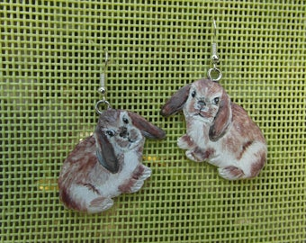 """""""Rabbits Rams"""" made of cold porcelain earrings"""