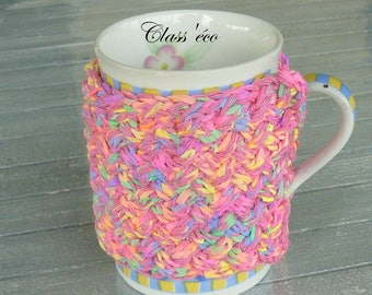 tea mug knitted multicolor cotton with dominant pink