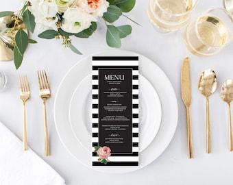 Black and White Theme Custom Editable Wedding Menu, Wedding Menu Template, Printable Wedding Menu, Instant Download, Digital Print Download