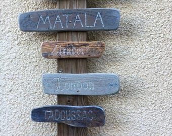 Sign on wood