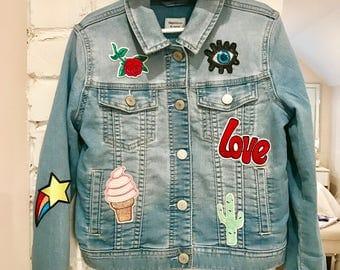 Girls custom denim jacket