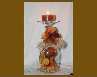 Upside down fall decorative wine glass candle holder,  burlap, pumpkin, flowers