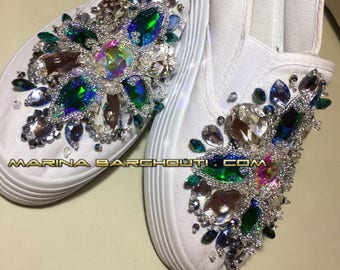 Crystal-embellished sneakers/ slip-on shoes