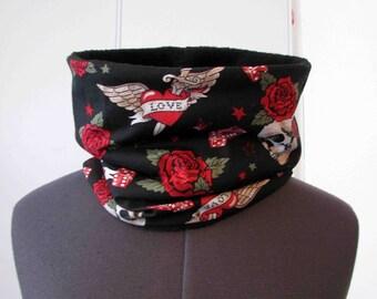 Snood scarf skulls and roses tattoo