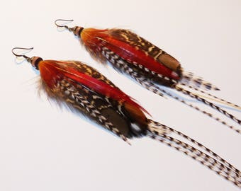 Long earrings, natural red feathers