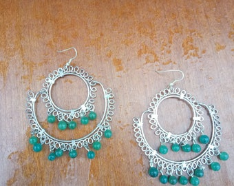 green jade vintage silver earings 1990's private collection