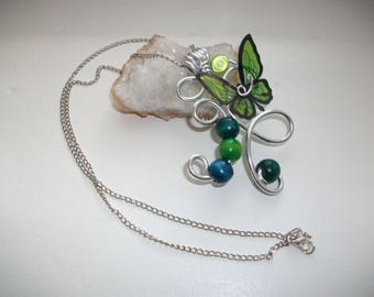Original and unique, handmade, green butterflies aluminum wire.