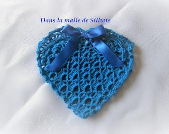 blue heart shaped crochet pouch