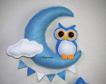 Baby mobile - Owl mobile - Luna moon mobile - Stars mobile - Baby Crip mobile by Love