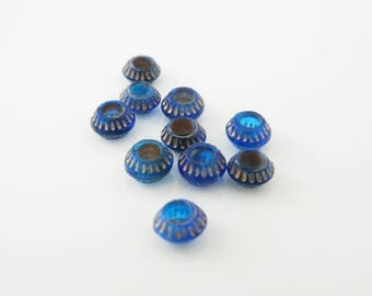 Blue 7mm x 10 (l260) rondelle bead set