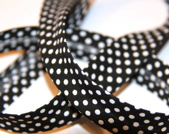 18MM POLKA DOT POLYCOTTON BIAS BLACK AND WHITE