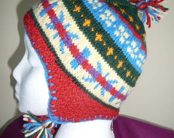 Bonnet  peruvien, tricoté jacquard rouge/multi