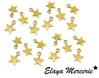 x 20 gold metal star charms
