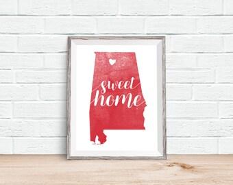 "CUSTOM Hometown Heart ""Sweet Home"" Alabama Crimson & White Art Print, Wall Decor"