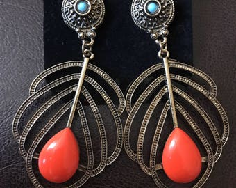 Orange Metal Earrings, Fashion Earrings