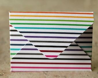 Rainbow Multicolored Striped Cardstock Gift Card Holder / Mini Envelope