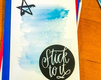 Stick To It Blue Watercolor Greeting Card with Lined Envelope