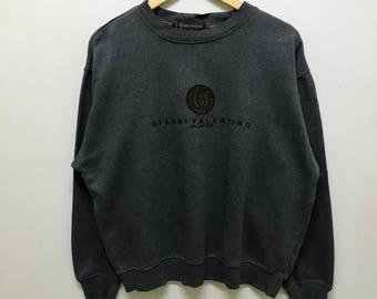 Rare!!! Gianni Valentino Sweatshirt Pullover Spellout Small Logo Embroidered