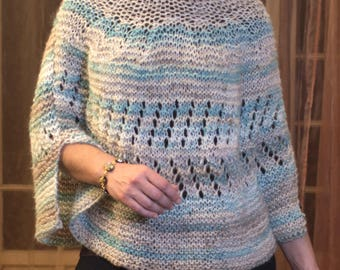striped blue/beige and white angora wool poncho