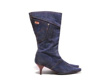 Denim pointed kitten heel boots