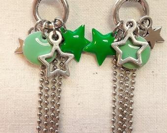 Silver earrings for teenagers, manga stars, shooting star, ball chain, enamled charm