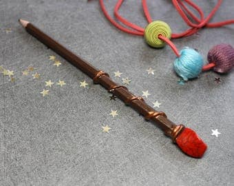 Pencil - Brown wand with red Pearl spiral
