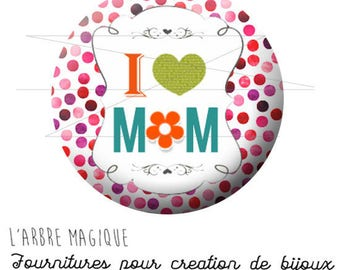 2 cabochons glue I mother's day love Mom small multicolor ref 1768 glass 20 mm-