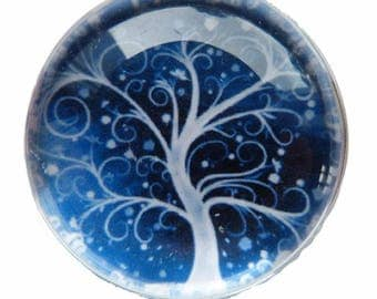 2 cabochons glass 18 mm tree Theme
