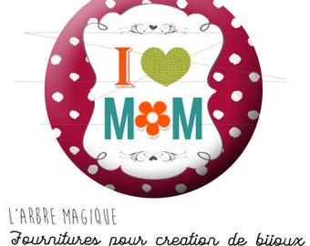 Cabochon fancy 25 mm happy mother's day best MOM small dots red ref 1766