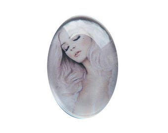 Fancy 18 x 25 mm fairy magical 1825c234 woman face cabochon
