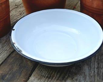 Vintage Enamelware White Bowl with Black Trim