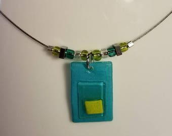 Handmade Geometric Beaded Necklace with Fused Shrink Film Pendant
