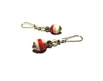 Retro earrings, red marbled stone beads