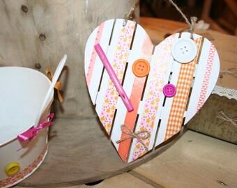 pink heart hanging Wood liberty orange colors