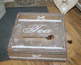 tea box taupe and white lace and burlap